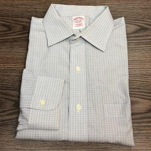 Brooks Brothers Blue, Grey & White Check Shirt